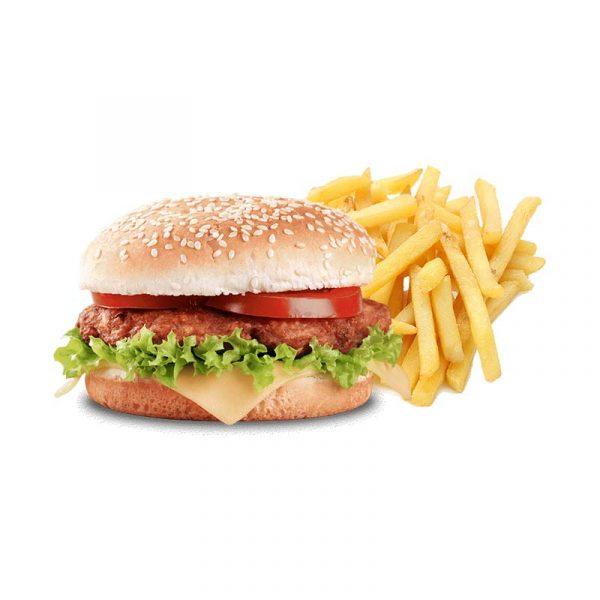 Hamburger e patatine rosso peperoncino