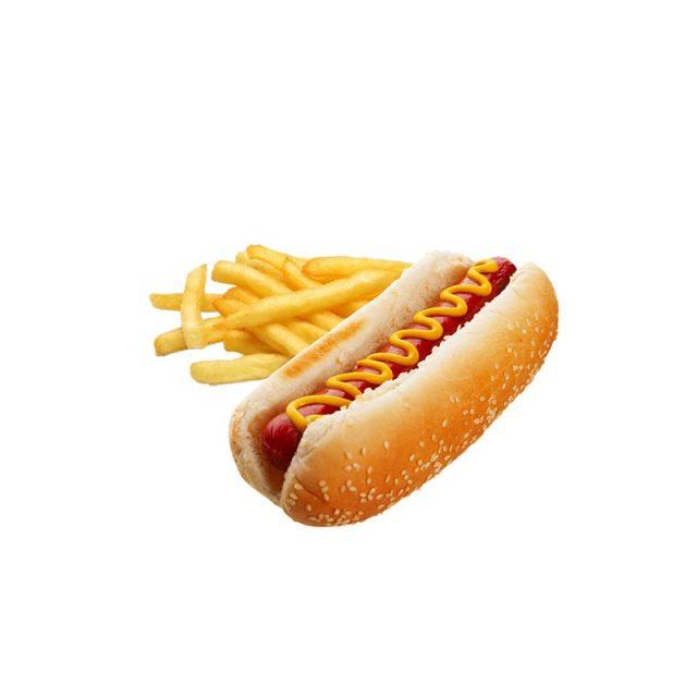hot dog e patatine rosso peperoncino
