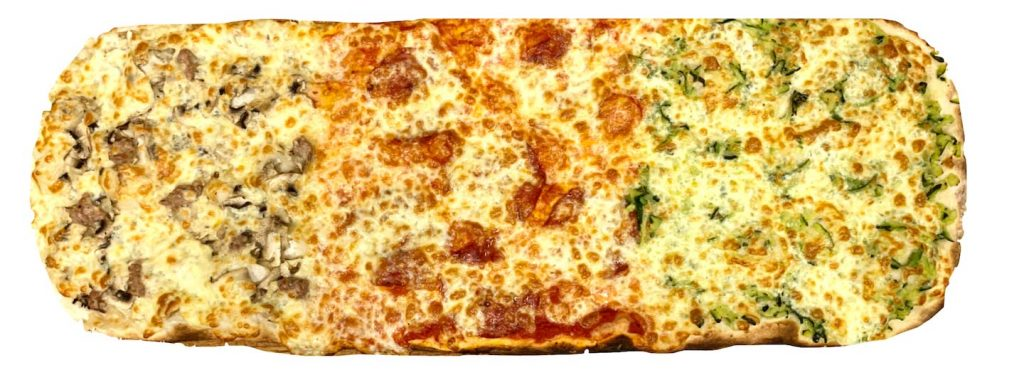 Pizza alla pala boscaiola diavola zucchine rosso peperoncino